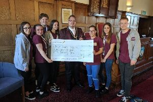 Outgoing mayor Councillor Billy Blanchard-Cooper presented a cheque for 12,012.68p to his chosen charity, Arun Youth Projects for their Creative Arts and Social Club Bursary