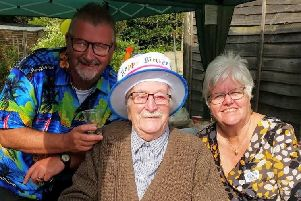 Ken at his birthday party with son Les Young and daughter-in-law Sue