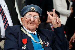 Stanley Northeast from Littlehampton at the D-Day 75 commemorations in Portsmouth last week, making the 'V for Victory' sign
