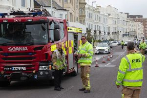 The fire services work to tackle the flood