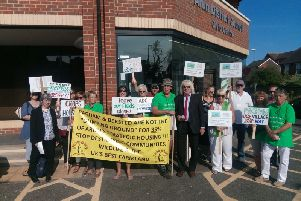 Residents protesting outside the Arun Civic Centre before the local plan was agreed last summer