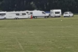 Travellers at Angmering School field this morning (July 9)