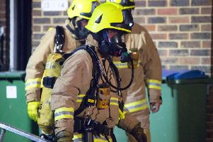 Firefighters at the scene in Steyning
