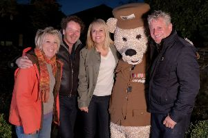 The Great Gardening Challenge presenters Carol Klein, Diarmuid Gavin, Nicki Chapman and Mark Gregory with Gifford Bear, Care for Veterans' mascot