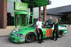 Dave Clarke in his Pontiac Grand Prix with personal trainer Caroline Hodgson and Lanes Health Club managing director Ash Ali