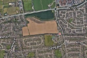 The landowner wants to build 465 homes at Chatsmore Farm in Goring. Photo: Google Maps