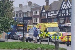 There is a large ambulance presence in Goring Road, Goring, today (October 11).