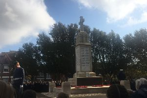 Wreath-laying service at the war memorial