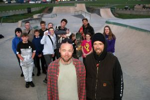 DM19110492a.jpg. Skateboarder James Peters wants to start a community centre with skateboarding, physical activity etc. Pictured at Lancing's Beach Green Skate Park, right, with David Odell and other users. Photo by Derek Martin Photography. SUS-190511-222103008