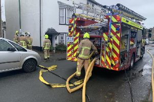 Firefighters at a building fire in Lancing SUS-191124-164853001