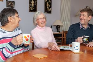 The Oddfellows members, from left, Janet Porter, Joy Warren and Michael Porter enjoy a coffee and a chat