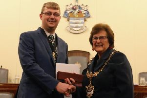 Former Worthing mayor Alex Harman, pictured with current mayor Hazel Thorpe has been made an honourary Alderman of the town