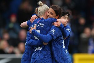 Bethany England celebrates scoring her team's first goal with Sam Kerr during the Barclays FA Women's Super League match between Chelsea and Reading at Kingsmeadow (Photo by Catherine Ivill/Getty Images)
