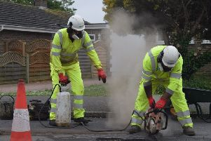 Pothole repair taking place