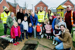 Burying the time capsule at the Cresswell Park development in Angmering
