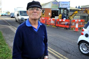 Mike Bellamy, from Shoreham, at the roadworks which commenced on Monday