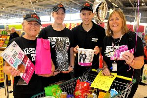Staff at Morrisons in Littlehampton raising money for CLIC Sargent to mark World Cancer Day 2020. Picture: Steve Robards SR20020103