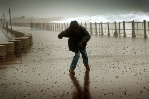 High Winds Hastings Seafront. 'Storm Hastings Seafront.