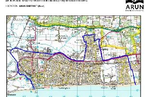 A new anti-social behaviour public space protection order [PSPO] shaped by public consultation has been finalised for Bognor Regis and Littlehampton. The restricted areas are outlined in blue. SUS-201102-175043001