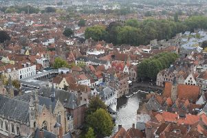 Looking out from Bruges' Belfry. Photograph: Rachel O'Brien