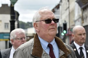 Glen Barr OBE, Chief Executive of the International School for Peace Studies in Londonderry pictured during the Battle of Messines Centenary service. DER2317-106KM