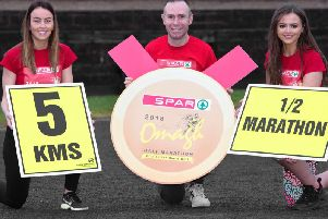 Haley Ballard, Gary O'Hanlon Current Irish Marathon Champion and Marir-Claire Caldwell Pictured during the Launch of the Spar 2018 Omagh Half Marathon at Omagh Leisure Centre