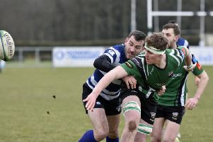 Joe Dunleavy playing for City of Derry against Old Crescent in 2017.