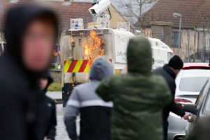 Police have been hit with petrol bombs and projectiles at an illegal dissident republican march in Londonderry.''Photo: Kelvin Boyes / Press Eye