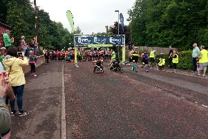 The wheelchair athletes get the sixth SSE Airtricity Walled City Marathon underway at the Everglades Hotel
