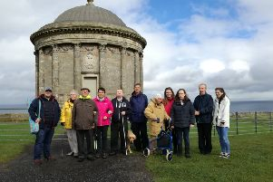 Members of the RNIB Visually Impaired Group on a visit to Downhill assessing accessibility of the site as part of their Understanding our Area People and Place project.