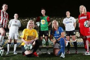 Pictured at the Danske Bank Womens Premiership launch from left to right: Shannon Dunne, Derry City; Megan Beattie, Crusaders Strikers; Caroline Walker, Comber Rec Ladies; Yasmin White, Glentoran Women; Ali Smyth, Linfield; Teresa Burns, Sion Swifts Ladies; and Amber Dempster, Cliftonville Ladies.