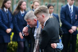 Funeral of 17-year-old Morgan Barnard at St Patrick's Church in Dungannon, Co. Tyrone.  Morgan died along with Lauren Bullock (17) and 16-year-old Connor Currie after an incident at the Greenvale Hotel in Cookstown on St Patrick's night. ''Picture by Jonathan Porter/PressEye.com