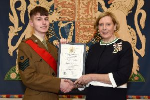 The newly appointed Lord Lieutenant's Cadet for the County of Londonderry, pictured receiving his award certificate from Mrs Millar is Cadet Sergeant Ethan Wilson, an enthusiastic and high-achieving member of the Newbuildings Detachment Army Cadet Force.