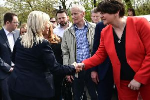 DUP leader Arlene Foster and Sinn Fein vice president Michelle O'Neill in Londonderry following the shooting of journalist Lyra McKee. Photo Colm Lenaghan / Pacemaker Press