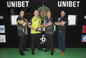 Ahead of the Unibet Premier League Darts Finals are (from left) Daryl Gurney, Michael Van Gerwen, Rob Cross and James Wade