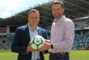 Andrew Johnston (NI Football League) and Paul Sherratt (uhlsport UK) at the launch of the new extended partnership between the parties which will last until season 2021/2022.