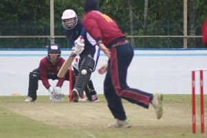 Glendermott's David Cooke is trapped LBW against Rush, in Saturday Irish Senior Cup.