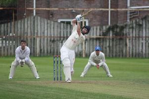 A huge six for Eglinton's Andy Millar during the villagers' surprise victory over Doneman.