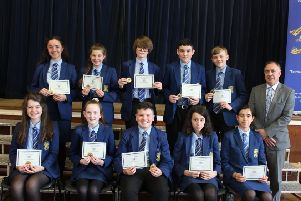 Winners of Year 9 Academic Awards at Loreto College Junior Prizegiving.