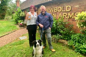 Karen Douglas, manager of the Newbold Comyn (left), Boarder Collie, Zack (centre) and Wayne Mclanaghan, Oscar Pet Foods nutritional advisor for Leamington and Warwick (right)
