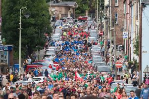 Thousands of young players taking part in Tuesday morning's O'Neill's Foyle Cup parade.