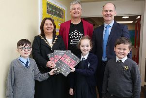 Mathemagician Andrew Jeffrey celebrated all things numerical with North West primary schools St Eugene's, St Anne's The Model, Rosemount and St Ethane's for Maths Week 2019 'Pictured with Andrew Jeffrey is Mayor of Derry City and Strabane, Cllr Michaela Boyle, Paul Bradley, Principal of Rosemount PS which hosted the special Maths Week event and pupils Oran McCourt (St Anne's PS) Aimee Johnstone (Rosemount PS) and Tyler Wilson (Model PS).