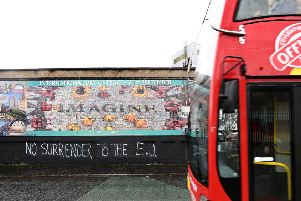 Graffiti relating to Brexit at a peace Wall in Belfast in October.'Photo: Colm Lenaghan/Pacemaker Press