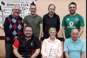 Finalists in the S.A.L.T. 3rd Annual Singles Bowling Tournament, [Back row, left to right] Alan Lindsay [Organiser], Curtis Nutt, Ivan McClintock and James Rutledge [Runner-up].  Front Row, left to right, Gary McNabb [Winner], Evelyn Galbraith and Ivan South.