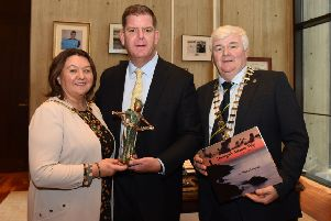 Mayor of Derry City and Strabane District Council Cllr Michaela Boyle and Donegal County Council An Cathaoirleach Cllr Nicolas Crossan pictured with the Mayor of Boston Marty Walsh.
