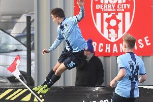 Institute's Gareth Brown jumps for joy after scoring a stunning goal against Coleraine.