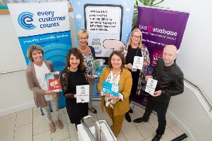 Derry City & Strabane District Council Mayor Michaela Boyle pictured at the launch of the JAM Cards initiative. Pictured alongside the Mayor are Michael Kelly, Strabane Business Improvement District, Leanne Kelly, NOW Group, Louise Boyce, DC&SDC Access and Inclusion Co-ordinator,  and Heather Wilson and Louise McGregor from the Equality Commission. (SUBMITTED PIC)