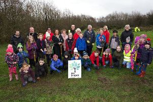 Mayor of Derry City and Strabane District Council, Councillor Michaela Boyle, with St. Eugene's Cubs and Beavers taking part in the Tree Planting event at the Top of the Hill Park on Corrody Road. Included are Paul McSwiggan, Environmental Health Officer, DCSDC, and Michael Savage, Derry City & Strabane District Council. (Photo - Tom Heaney, nwpresspics)