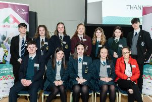 The young people from Foyle College, St Patrick's and St Brigid's College, St Columb's, St Mary's, St Joseph's and Lumen Christi College who made up the Peace Tree Committee pictured at Friday's Foyle Arena event.