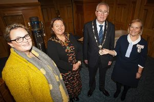 """NNEW HIGH SHERIFF. . . .The Mayor of Derry City and Strabane District Council, Michaela Boyle pictured with the new High Sheriff of Derry City at his installation at the Mayor�""""s Parlour, Guildhall on Monday afternoon. Included on left is Julia Keys, Outgoing High Sheriff, and on right, Dr. Angela Garvey, Lord Lieutenant of the County Borough of Londonderry. (Photo: Jim McCafferty Photography)"""